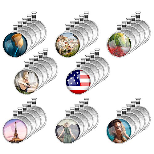 (Accmor 40 Pcs Silver Pendant Tray with 40 Pcs Transparent Glass cabochons, Clear Glass Dome Cabochon, Round Pendant Bezel 1 inch/25mm for Photo Pendant Craft Jewelry Making, Total 80)