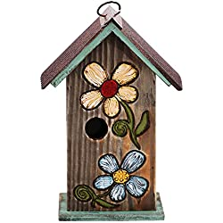 CEDAR HOME Hanging Bird House Outdoor Garden Patio Decorative Resin Pet Cottage Carved Bouquet Wooden Birdhouse, Brown