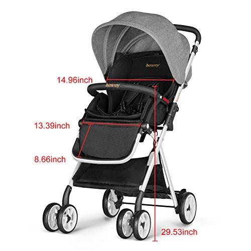 Besrey Lightweight Foldable Baby Stroller - Gray by besrey (Image #6)