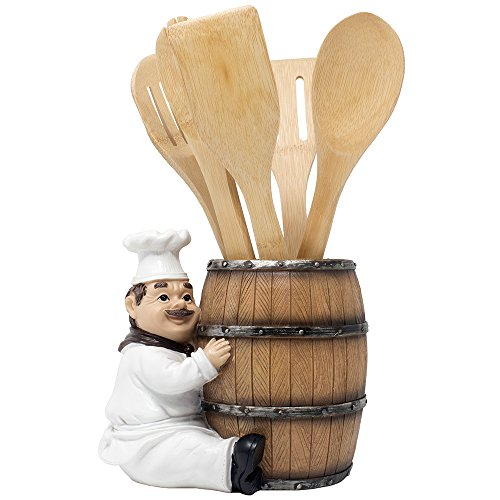 French Chef Pierre Decorative Countertop Utensil Holder Crock with Faux Wood Wine Barrel Display Stand Table Statue for Country Cottage Decor amp Gourmet Kitchen Decorations As Housewarming Gifts