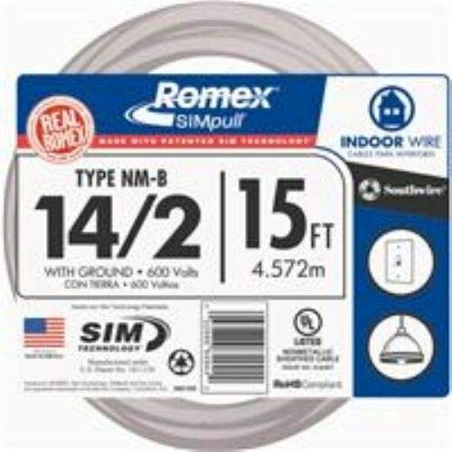 15 Ft. 14-2 Solid White NMW/G Wire Compatible With Southwire Romex
