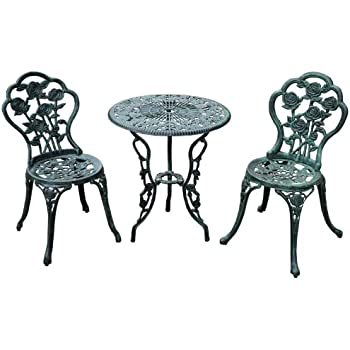 This Item Outsunny 3 Piece Outdoor Cast Iron Patio Furniture Antique Style  Bistro Dining Chair And Table Set