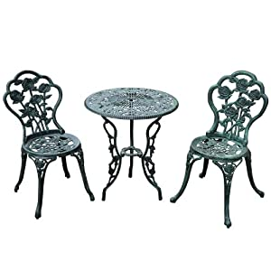 Outsunny 3 Piece Outdoor Cast Iron Patio Furniture Antique Style Bistro  Dining Chair And Table Set