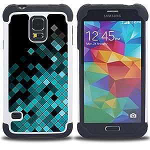 - polygon disco pattern music equalizer/ H??brido 3in1 Deluxe Impreso duro Soft Alto Impacto caja de la armadura Defender - SHIMIN CAO - For Samsung Galaxy S5 I9600 G9009 G9008V