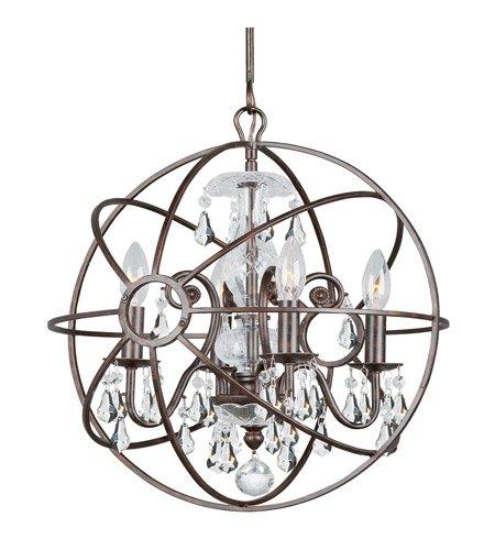 - Mini Chandeliers 4 Light With English Bronze Clear Swarovski Strass Wrought Iron 17 inch 240 Watts - World of Lighting