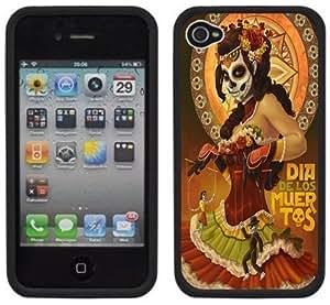 Day of the Dead Dia de los Muertos Handmade iPhone 4 4S Black Hard Plastic Case