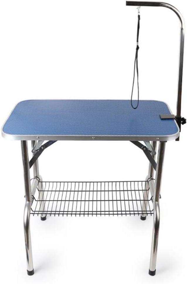 Jlxl プロ用ペットグルーミングテーブル犬猫、折りたたみ式ステンレススチール製滑り止めテーブル面(青)
