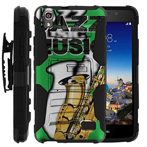 - TurtleArmor   Huawei Pronto Case   Huawei SnapTo Case   H891L [Hyper Shock] Heavy Impact Proof Absorber Silicone Case Kickstand Belt Clip Music Design - Jazz Saxophone