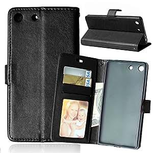 Sony M5 funda , Sony Xperia M5 funda , Lifetrut® [ negro ] [Función Monedero] [Soporte Reportaje] magnético del caso de la cartera de la cubierta del caso del tirón Snap Case con una función de ranuras para tarjetas funda para Sony Xperia M5