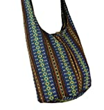 BTP! Thai Cotton Sling Bag Purse Cross body Messenger Hippie Hobo Hand Woven Ikat A36