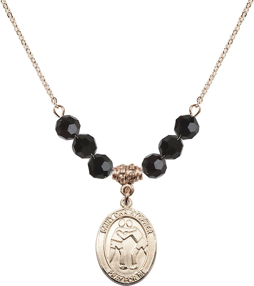 Gold Plated Necklace with 6mm Jet Birthstone Beads & Saint Christopher/Wrestling Charm.