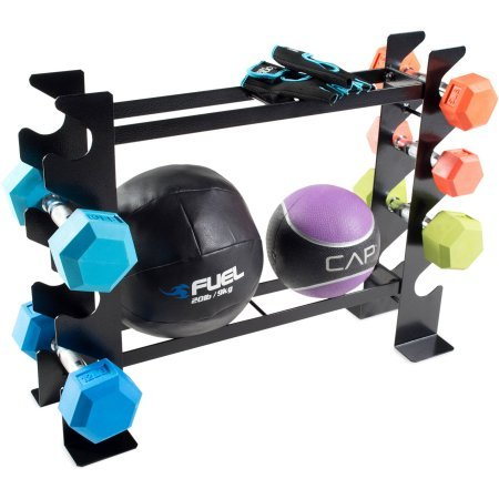 500 lb weight capacity Dumbbell and Fitness Accessory Storage Rack in Black