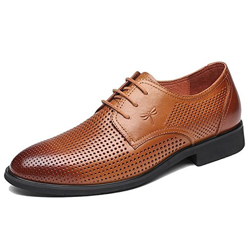 Traspiranti Brown Low di Stringate Estate Marrone Fori Top DSFGHE Mens Lavoro Nozze Scarpe di Hole Colloquio per Nero TvqRY