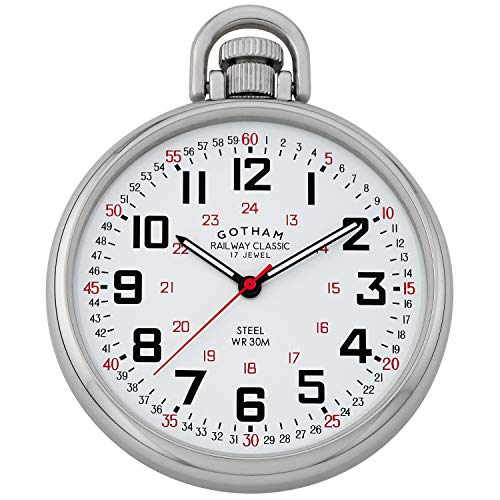 Gotham Men's Stainless Steel Mechanical Hand Wind Railroad Style Pocket Watch # GWC14106S