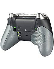 eXtremeRate Gray Rubberized Right Left Side Rails, Replacement Rear Handle Grips, Back Panels Faceplates Kits for Xbox One Elite Controller (Model 1698)