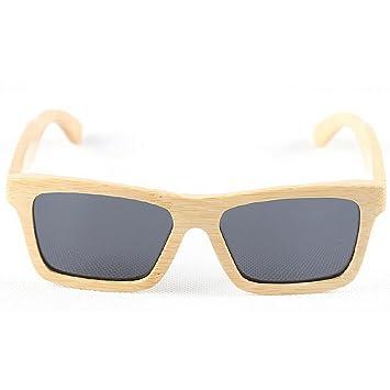 Y-WEIFENG Gafas de Sol de Mujer Gafas de Sol de bambú Retro ...