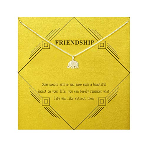 Gray Camel Friendship Elephant Necklace Birthday Gift Necklace with Message Card Gift Card for Women Girls (Sliver Elephant)