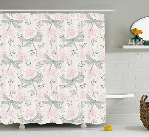 Dragonfly Shower Curtain by Ambesonne, Shabby Chic Roses Worn Old Vintage Backdrop with Moth Bugs Print, Fabric Bathroom Decor Set with Hooks, 70 Inches, Pale Pink Pale Grey Coconut