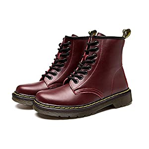 Colorxy Womens Mens Fashion Round Toe Martin Boots Lace Up Leather Ankle Boots Motorcycle Shoes Winter Combat Boots