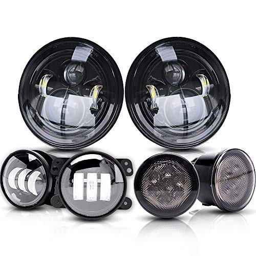 T-Former DOT 7 Inch Round LED Headlights High Low Beam For Jeep Wrangler 1997-2017 JK Rubicon JKU Sahara Sport Unlimited + 4 LED Fog Lights + Amber Turn Signal Lights?6 Pack