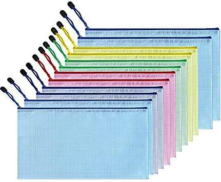 Zipper File Folder Bags, A6 A5 A4 B6 B5 B4 Mesh Office Bags, Zippered Waterproof PVC Document Pouch Plastic Zip Filing Folder (12 Pack)