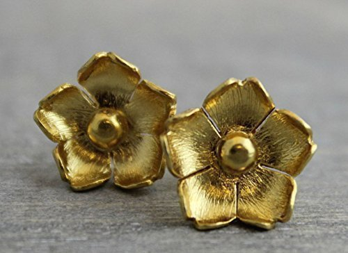 - Gold (925) Flower Floral Stud Earrings Bridesmaid Bridal Wedding Jewelry