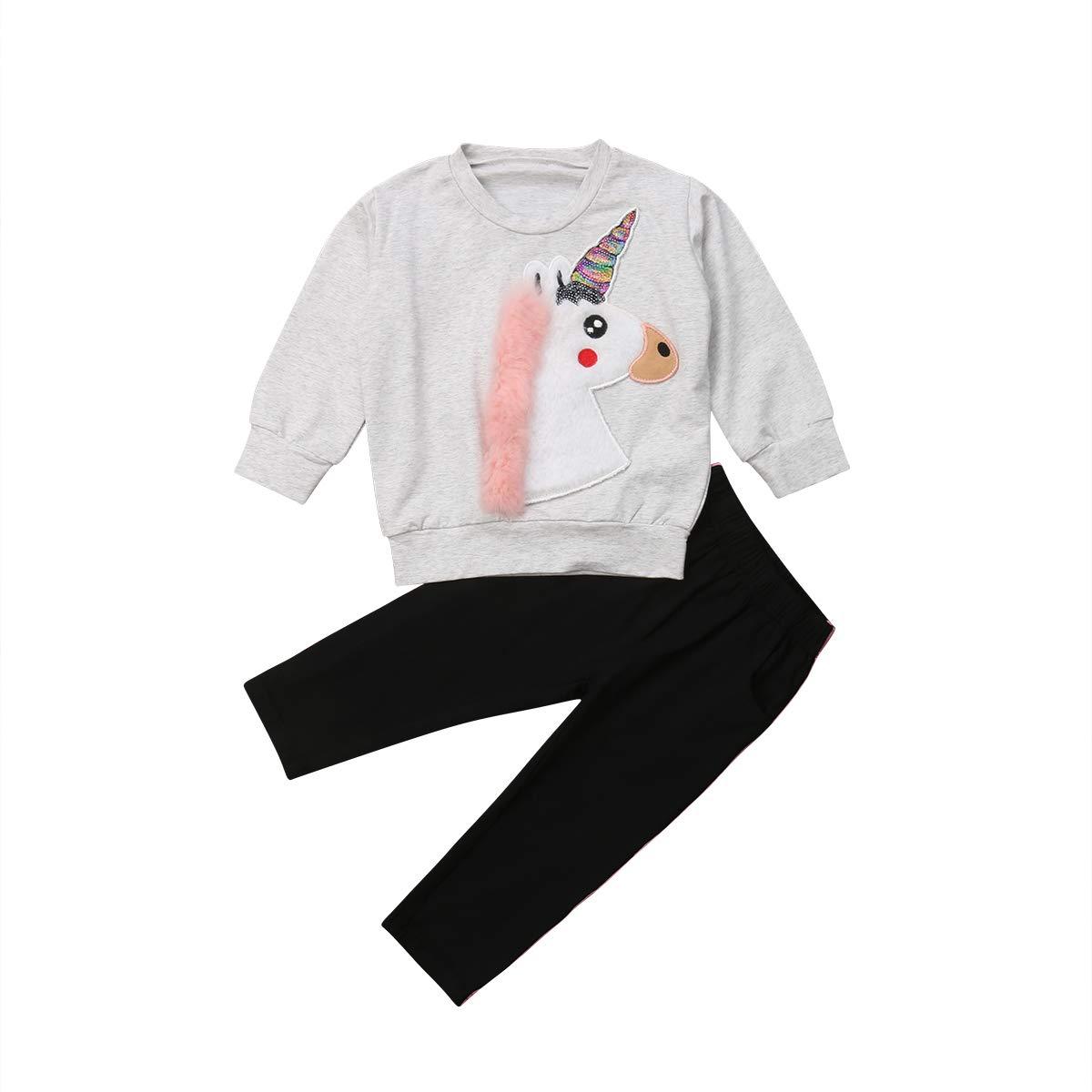 ITFABS Baby Girl Unicorn Outfits Set Cute Unicorn Hoodies Sweatshirts Stripes Pants