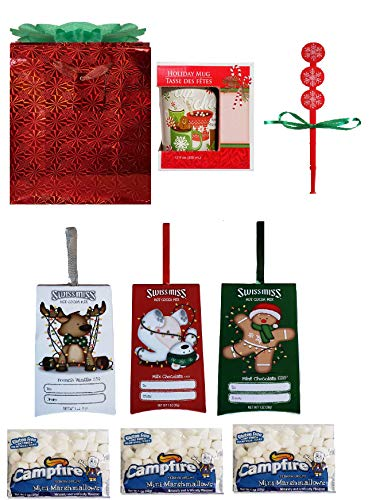 Hot Cocoa Lovers Holiday Gift Set | 3 Swiss Miss Single Packs, 3 Mini-Marshmallows Packs, Seasonal Mug, 3 Snowflake Stir Sticks, and Red Foil Gift Bag