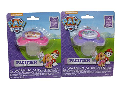 Paw Patrol Baby Pacifier with Cover - Bundle of 2 - One Everest and One Skye Pacifier (Paws Pacifier)