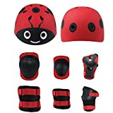 Lucky-M Kids 7 Pieces Outdoor Sports Protective Gear Set Boys Girls Cycling Helmet Safety Pads Set [Knee&Elbow Pads and Wrist Guards] for Roller Scooter Skateboard Bicycle(3-8Years Old) (Red Ladybug)