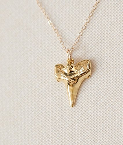 - Handmade Gold Shark Tooth Necklace 14K Gold Filled Artisan Made