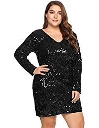 Women's Plus Size Glitter Bodycon Sequin Cocktail Party Club Evening Mini Dress(16~24W)