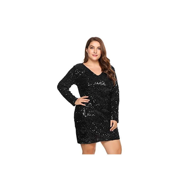 935e9684 Zeagoo Women's Plus Size Glitter Bodycon Sequin Cocktail Party Club Evening  Mini Dress(16~24W)