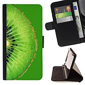 DEVIL CASE - FOR Samsung Galaxy S5 Mini, SM-G800 - Fruit Macro Green Kiwi - Style PU Leather Case Wallet Flip Stand Flap Closure Cover