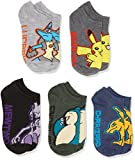 Pokemon Big Boys' 5pk No Show Socks, Assorted Dark, 6-8.5