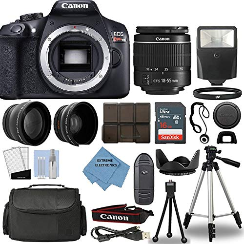 Canon Rebel T6 DSLR Camera + 18-55mm 3 Lens Kit + 16GB Top Value Bundle – 2X Telephoto Lens + Wide Angle Lens + 3 Piece Filter Kit + Tripod + Lens Hood + Flash + Extreme Electronics Cloth + More