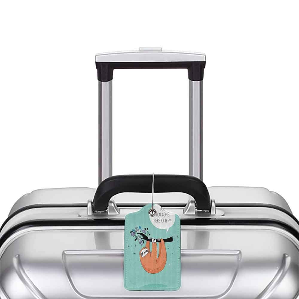 Soft luggage tag Animal Decor Cartoon Design Print Sloth with a Flirty Quote So You Come Here Often Color Image Bendable Multi W2.7 x L4.6
