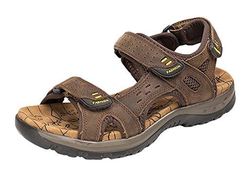da Spiaggia Studio Scarpe Velcro Marrone Alta Sandalo Pelle Suola scuro SK Sportivi Trekking Uomo Sandali di qxXTIIw