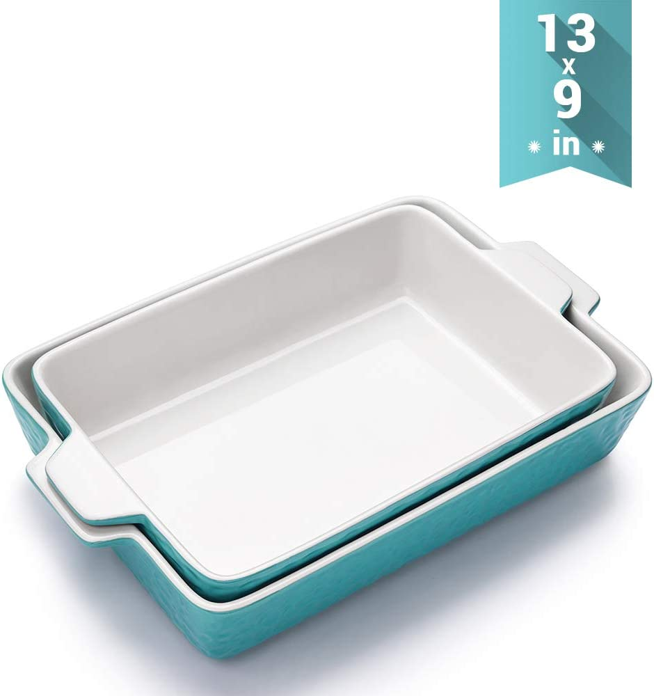 Ceramic Baking Dishes, Krokori Rectangular Bakeware Set Baking Pan Lasagna Pans for Cooking, Kitchen, Cake Dinner, Banquet and Daily Use - 13 x 9 Inches for Larger One- 2PCS