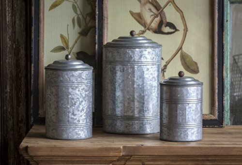 - Tall Galvanized Tin Antique Style Canisters Set of 3