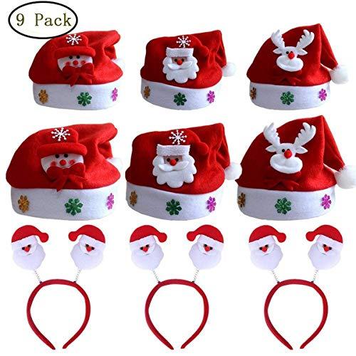 (Christmas Hats and Santa Claus Headbands for Kids Adults Xmas Snowman Cosplay Costume Decor Gift 9Pcs/Set)