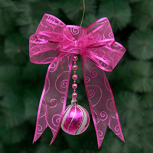 - Gotian Pretty Christmas Mesh Bow Ribbon Tree Xmas Iron Ball Party Wedding Window Ornament Decoration (Hot Pink)
