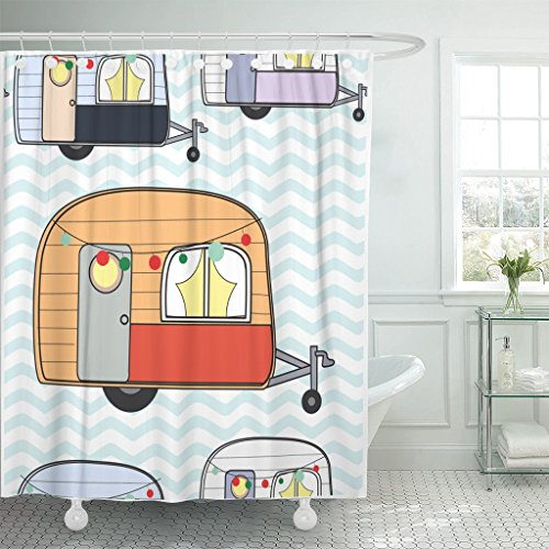 TOMPOP Shower Curtain Colorful Baby Cute Adorable Caravan Camper Van Pastel Doodle Cartoon Comic Style Camping Celebration Waterproof Polyester Fabric 60 x 72 Inches Set with Hooks (Touring Caravan)
