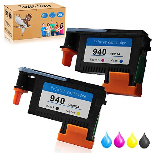 Tuobo 2PK for 940 Black/Yellow & Cyan/Magenta Printhead C4900A C4901A Premium Long-Life New Chip for Officejet Pro 8000 8500 8500A 8500A Plus 8500A - Black Printhead Hp 8500a