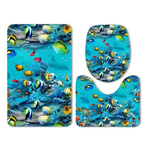 - DKISEE 3 Piece Bathroom Mat Set Paradise Found Tropical Fish Washable Bath Rug Set Non Slip Carpet Bath Mat Set