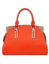 SAIERLONG Women's Cross Body Bag Handbag Tote orange Cow Leather - CROCO Crocodile OL commuter Dimensional Solid bag