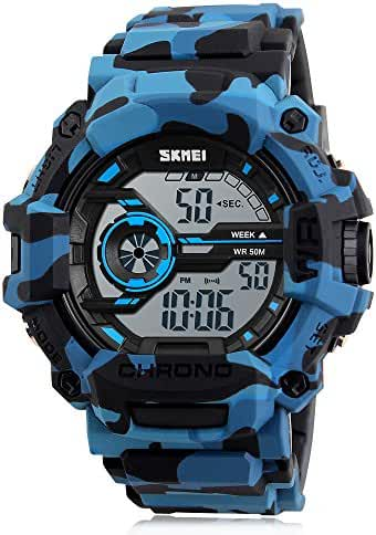 Boy Watch Digital Camouflage Blue Sports Military Style Alarm LED light Stopwatch Waterproof