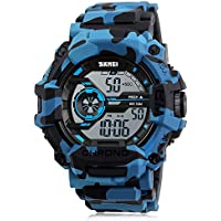 Boy Watch Digital CamouflageBlue Sports Military Style Alarm LED light Stopwatch Waterproof For Men and Teenagers
