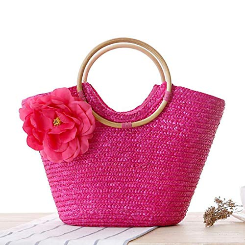 Natural Woven Ring Color Military Rose Beach Las para Hand Red Casual Chic Green Mujeres Handle de Flores Straw Large Bolsos Bag Toto PUWEN w0qHEXX