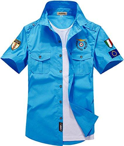 (SWORLD Mens Solid Button Shirt Cool Pilot Air Force Uniform Short Sleeve Dress Shirt)